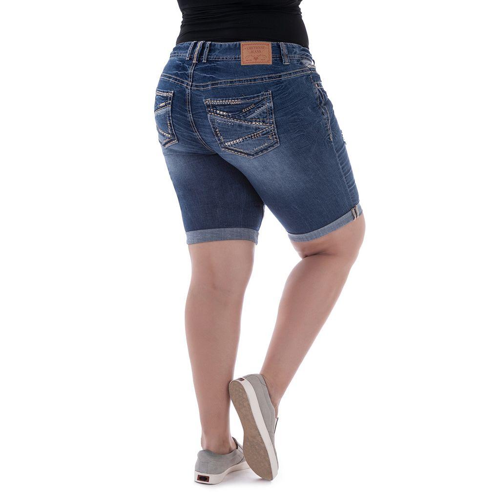Juniors' Plus Size Amethyst Faded Denim Bermuda Shorts