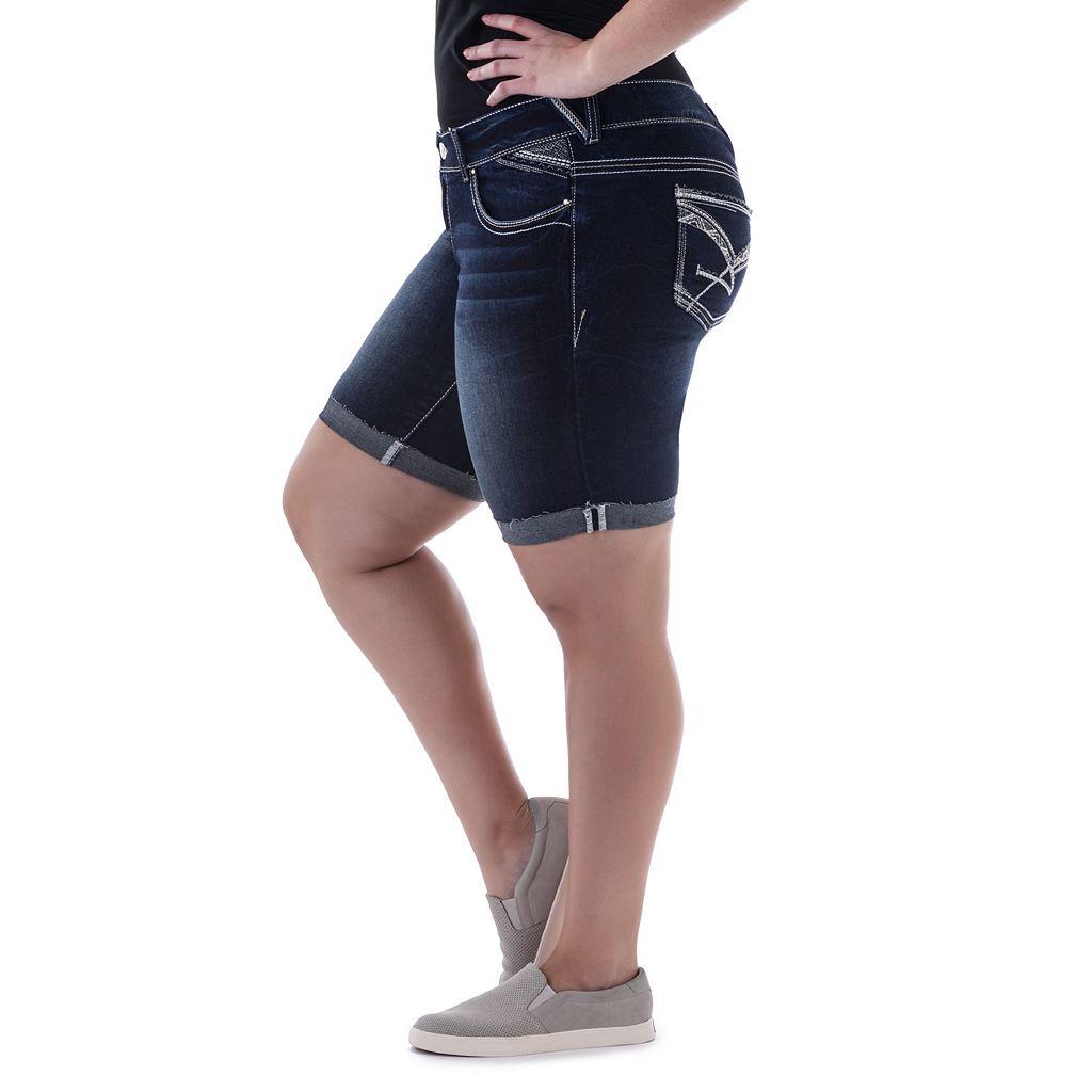 Juniors' Plus Size Amethyst Dark Wash Denim Bermuda Shorts