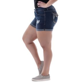 Juniors' Plus Size Amethyst Ripped Denim Midi Shorts