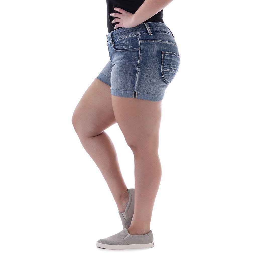 Juniors' Plus Size Amethyst Faded Denim Midi Shorts