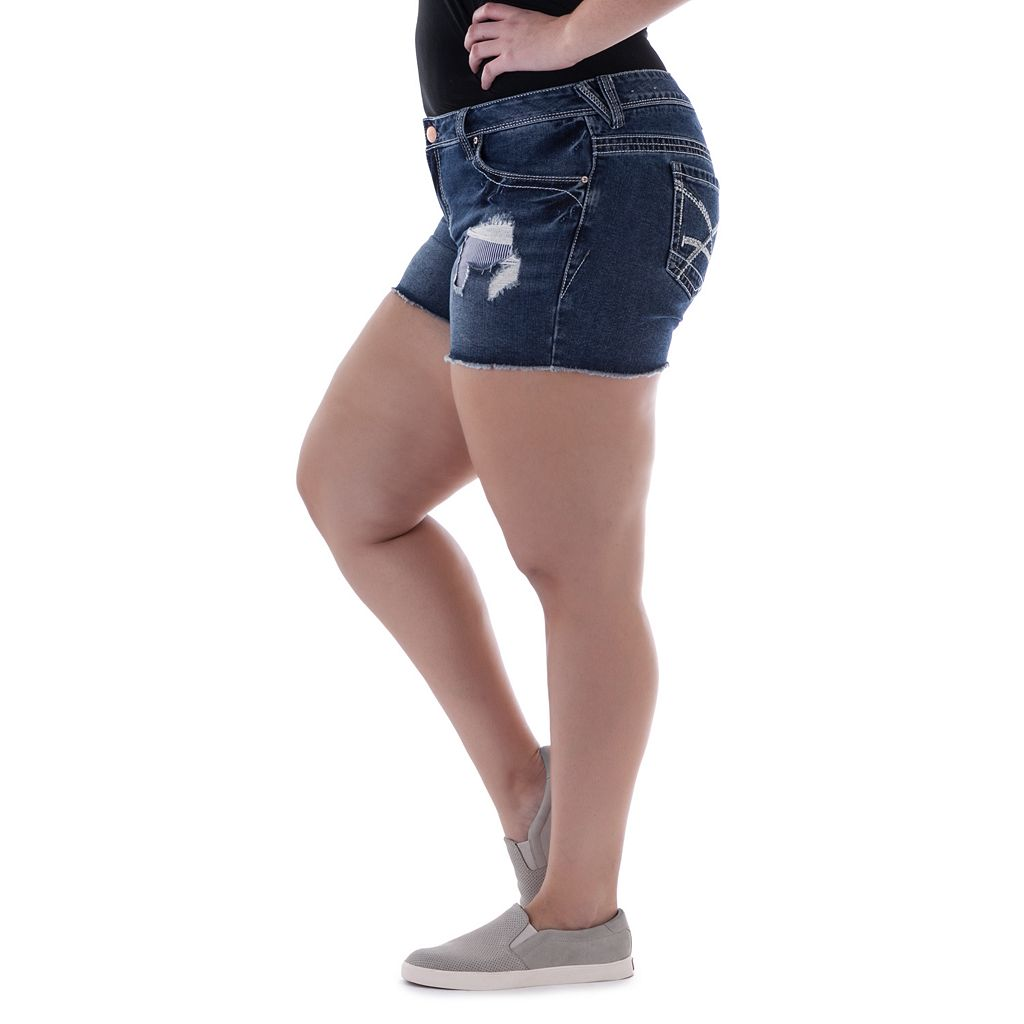 Juniors' Plus Size Amethyst Fray Denim Midi Shorts