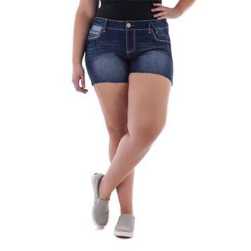 Juniors' Plus Size Amethyst Embroidered Denim Midi Shorts