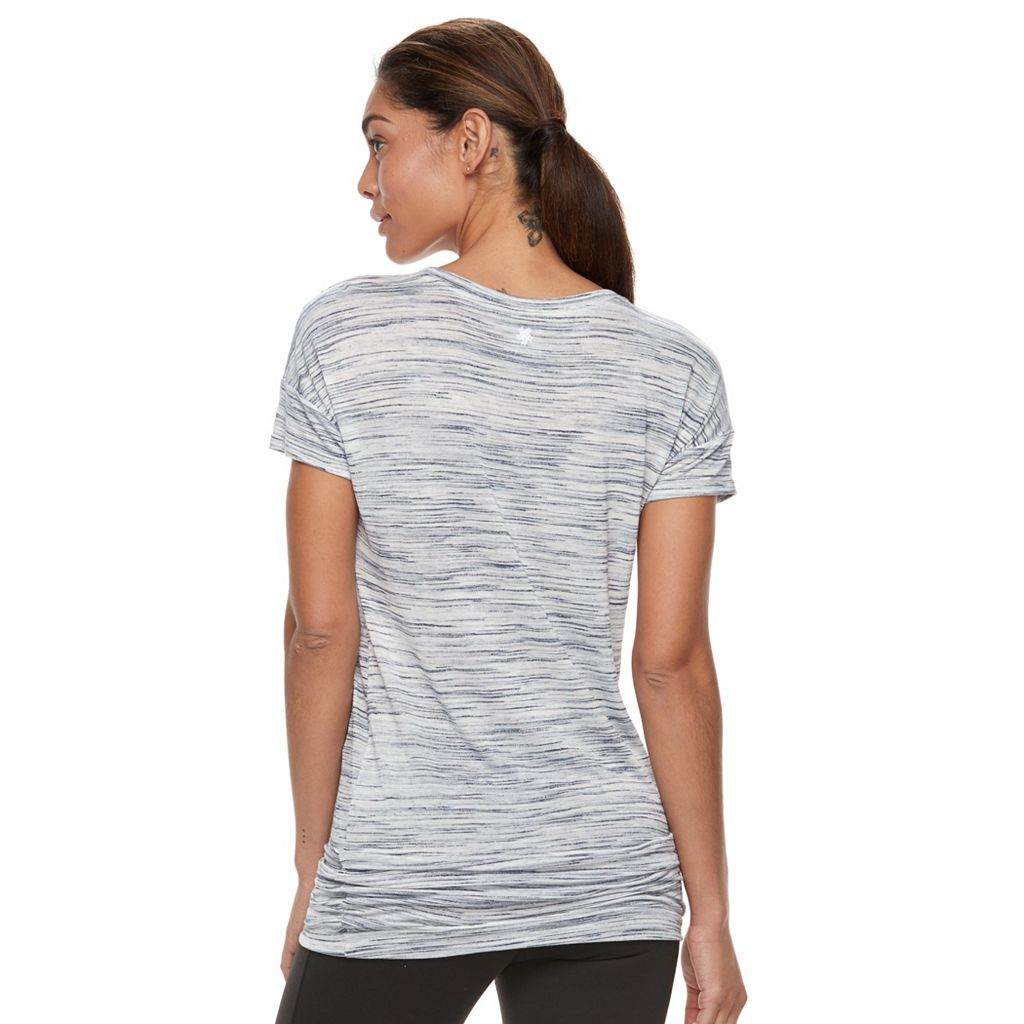 Petite Tek Gear® Space-Dye Ruched Crewneck Tee