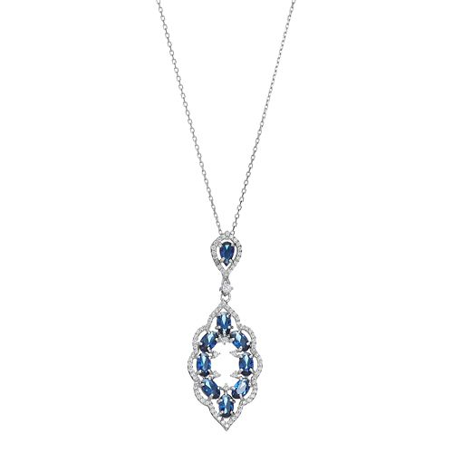 Sterling Silver Simulated Sapphire & Cubic Zirconia Scalloped Pendant