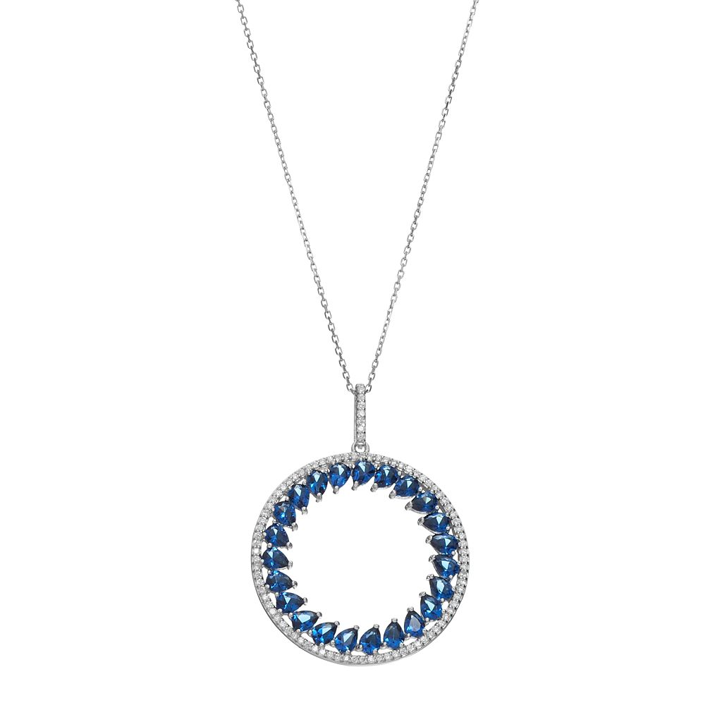 Sterling Silver Simulated Sapphire & Cubic Zirconia Circle Pendant