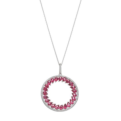 Sterling Silver Simulated Pink Sapphire & Cubic Zirconia Circle Pendant