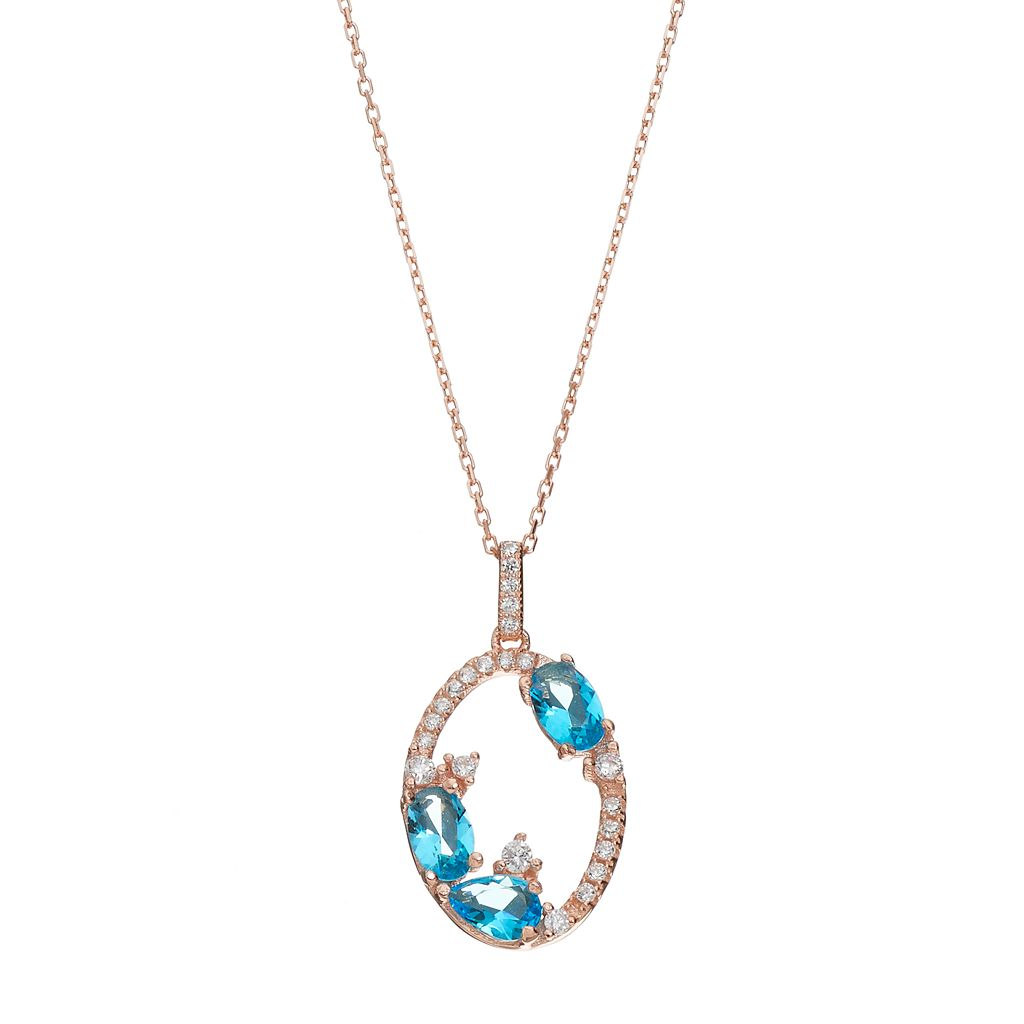 14k Rose Gold Over Silver Cubic Zirconia Oval Pendant Necklace