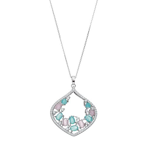 Sterling Silver Cubic Zirconia Marquise Pendant Necklace