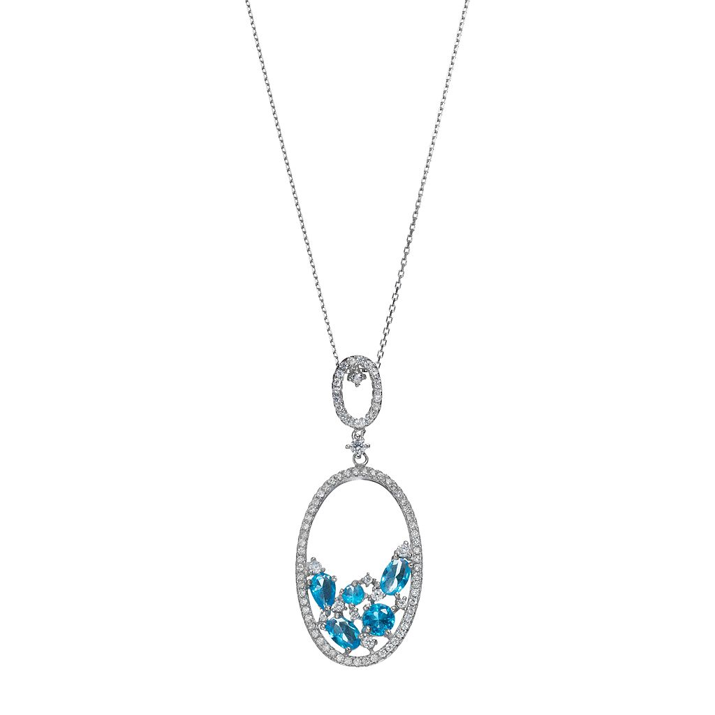 Sterling Silver Cubic Zirconia Oval Pendant Necklace