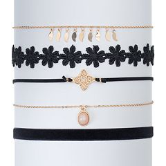 Mudd® Flower, Quatrefoil & Velvet Choker Necklace Set