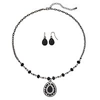 Black Beaded Teardrop Pendant Necklace & Drop Earring Set