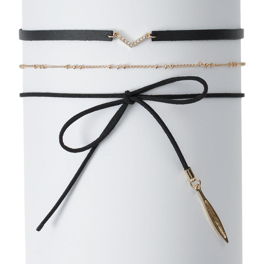 Mudd® Chevron & Tie Cord Choker Necklace Set