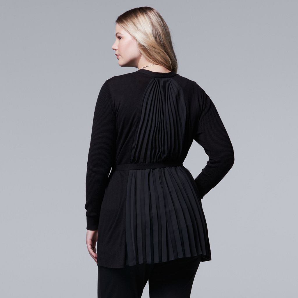 Plus Size Simply Vera Vera Wang Pleat-Back Cardigan