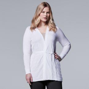 Plus Size Simply Vera Vera Wang Pleat-Back Cardigan