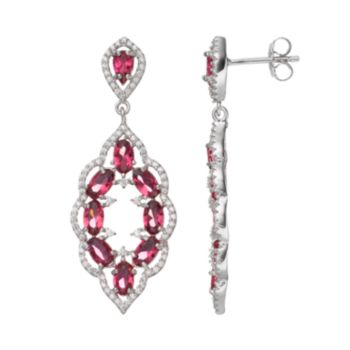 Sterling Silver Simulated Pink Sapphire & Cubic Zirconia Scalloped Drop Earrings