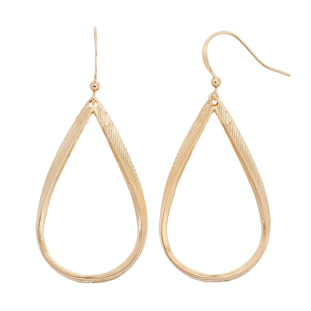 Textured Nickel Free Open Teardrop Earrings