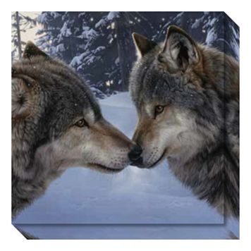 Muzzle Nuzzle Wolves Canvas Wall Art