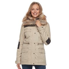 Women's Apt. 9® Faux Fur Faux-Leather Accent Parka