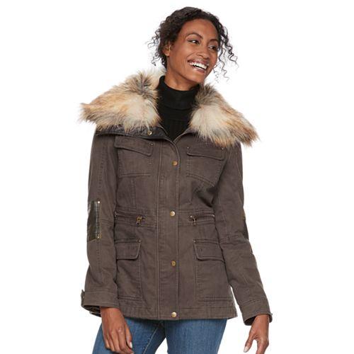 Women's Apt. 9® Faux Fur Faux-Leather Accent Parka