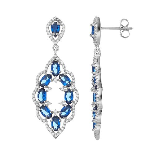 Sterling Silver Simulated Sapphire & Cubic Zirconia Scalloped Drop Earrings
