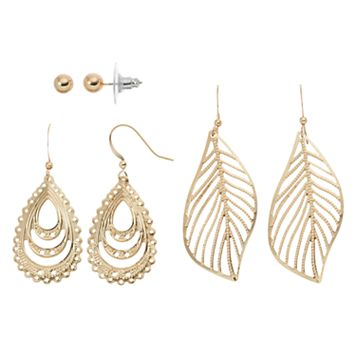 Leaf & Teardrop Nickel Free Earring Set