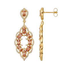 14k Gold Over Silver Cubic Zirconia Scalloped Drop Earrings