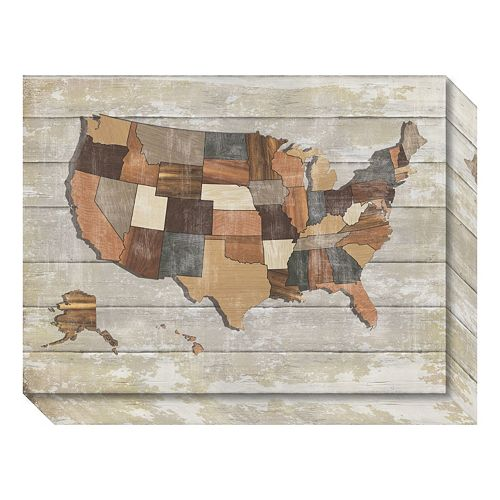 Wood Map Canvas Wall Art