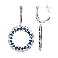Sterling Silver Simulated Sapphire & Cubic Zirconia Hoop Drop Earrings