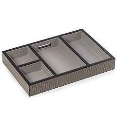 Bey-Berk Lacquered Carbon-Fiber Open-Face Valet Box