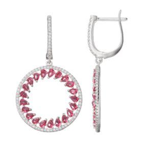 Sterling Silver Simulated Pink Sapphire & Cubic Zirconia Hoop Drop Earrings