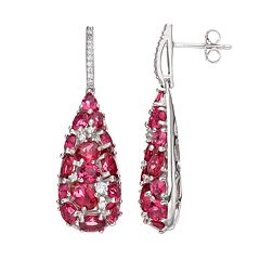 Sterling Silver Simulated Pink Sapphire & Cubic Zirconia Teardrop Earrings