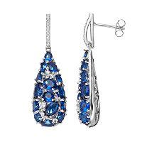 Sterling Silver Simulated Sapphire & Cubic Zirconia Teardrop Earrings
