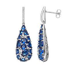 Sterling Silver Simulated Sapphire & Cubic Zirconia Teardrop Earrings