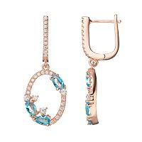 14k Rose Gold Over Silver Cubic Zirconia Oval Hoop Drop Earrings