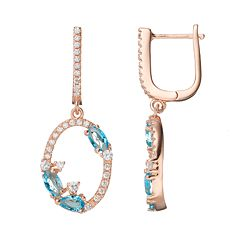 14k Rose Gold Over Silver Cubic Zirconia Oval Hoop Drop Earrings
