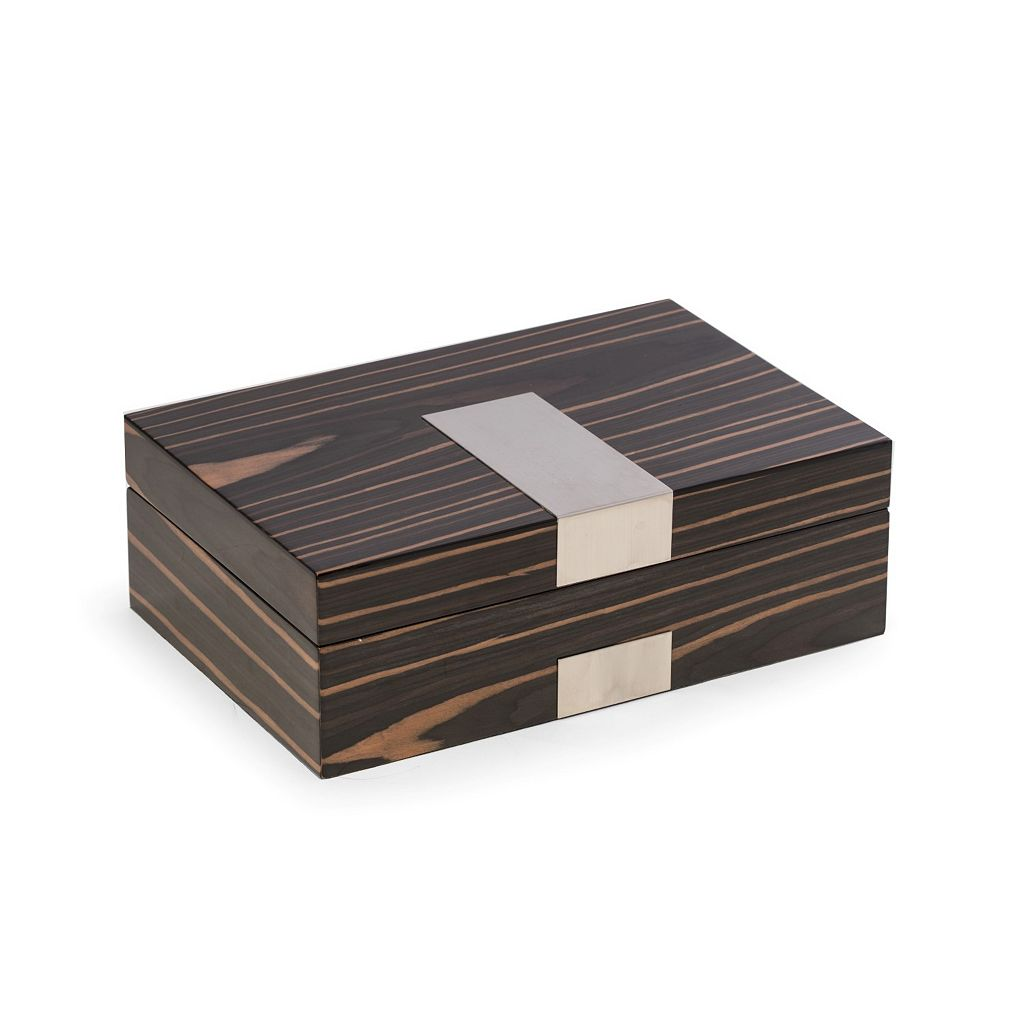 Bey-Berk Lacquered Ebony Wood Valet Box
