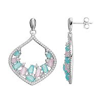 Sterling Silver Cubic Zirconia Marquise Drop Earrings