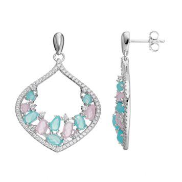 Sterling Silver Cubic Zirconia Marquise Drop Earrings