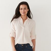 Petite SONOMA Goods for Life™ Textured Stripe Roll-Tab Shirt