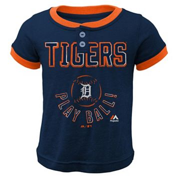 Boys 4-7 Majestic Detroit Tigers Play Ball Ringer Tee