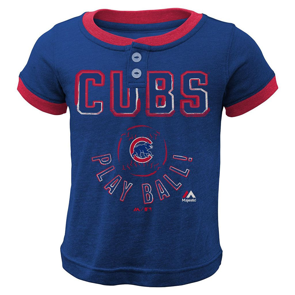 Boys 4-7 Majestic Chicago Cubs Play Ball Ringer Tee