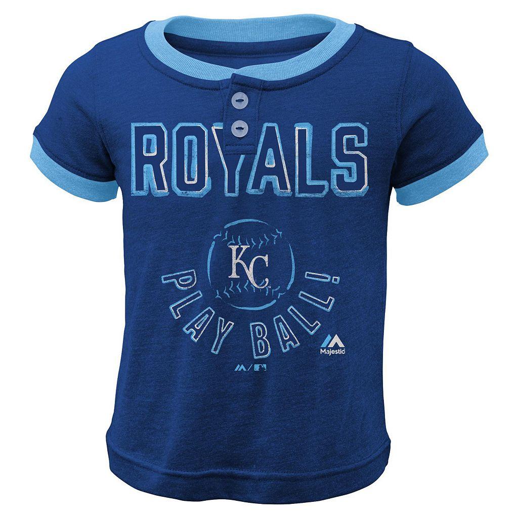 Boys 4-7 Majestic Kansas City Royals Play Ball Ringer Tee
