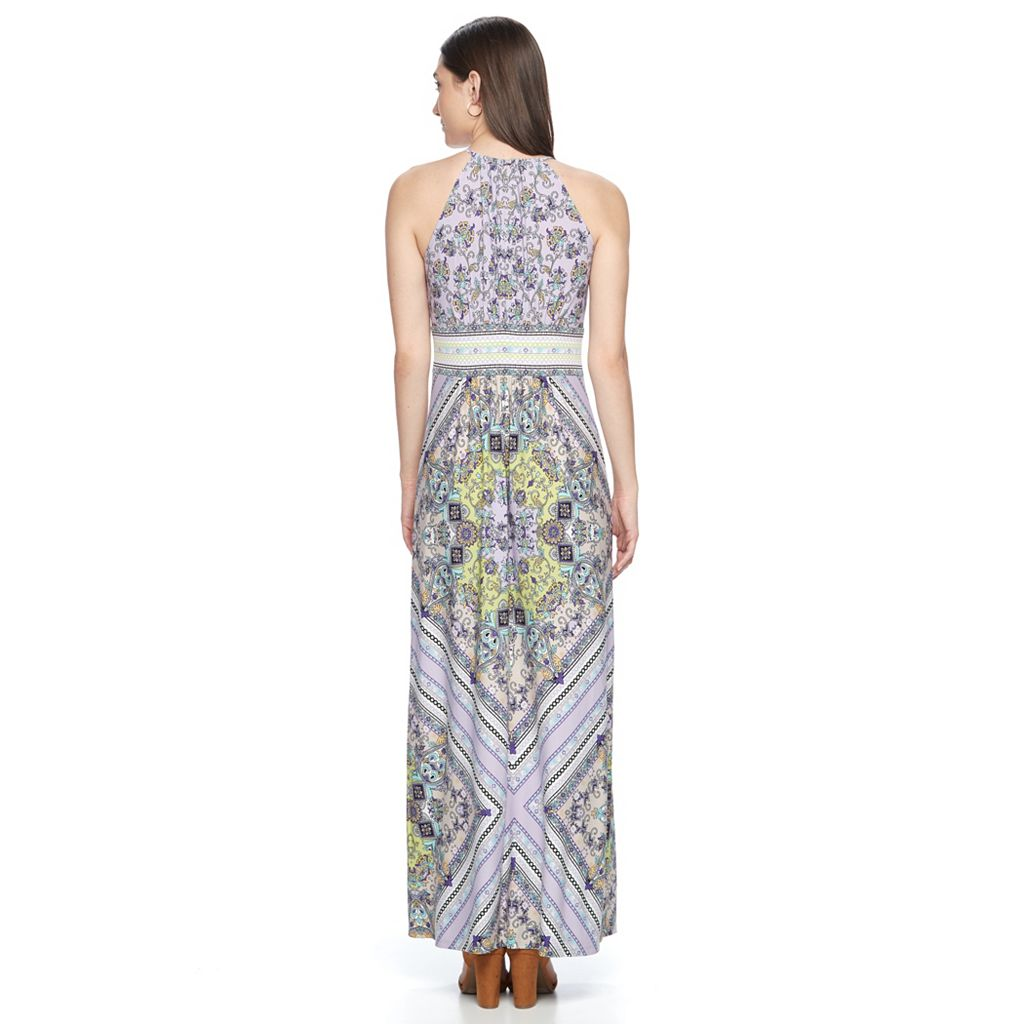 Petite Suite 7 Keyhole Halter Maxi Dress