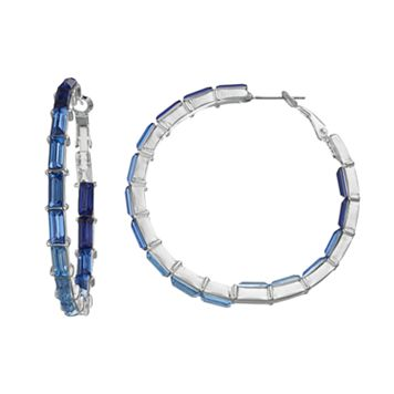 Jennifer Lopez Blue Baguette Inside Out Hoop Earrings