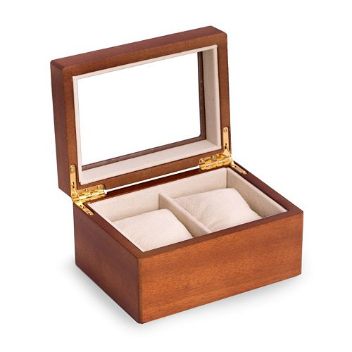 Bey-Berk Wood Two-Watch Storage Case