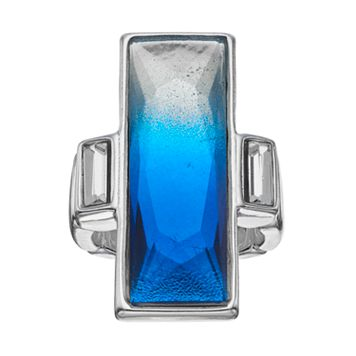 Jennifer Lopez Faceted Blue Ombre Rectangular Stretch Ring