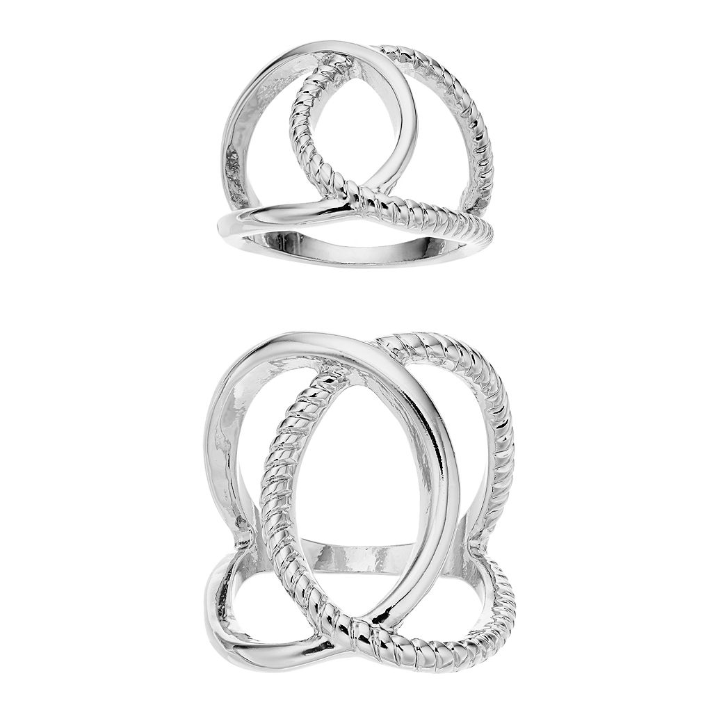 Jennifer Lopez Interlocked Loop Ring Set