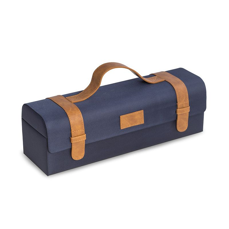 Bey-Berk Wine Caddy & Bar Tool Set, Blue