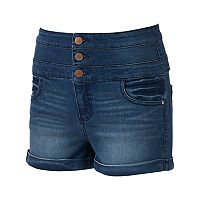 Juniors' Tinseltown Triple Stack Denim Shortie Shorts