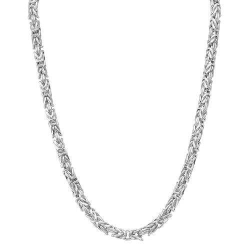 Sterling Silver Adjustable Byzantine Chain Necklace